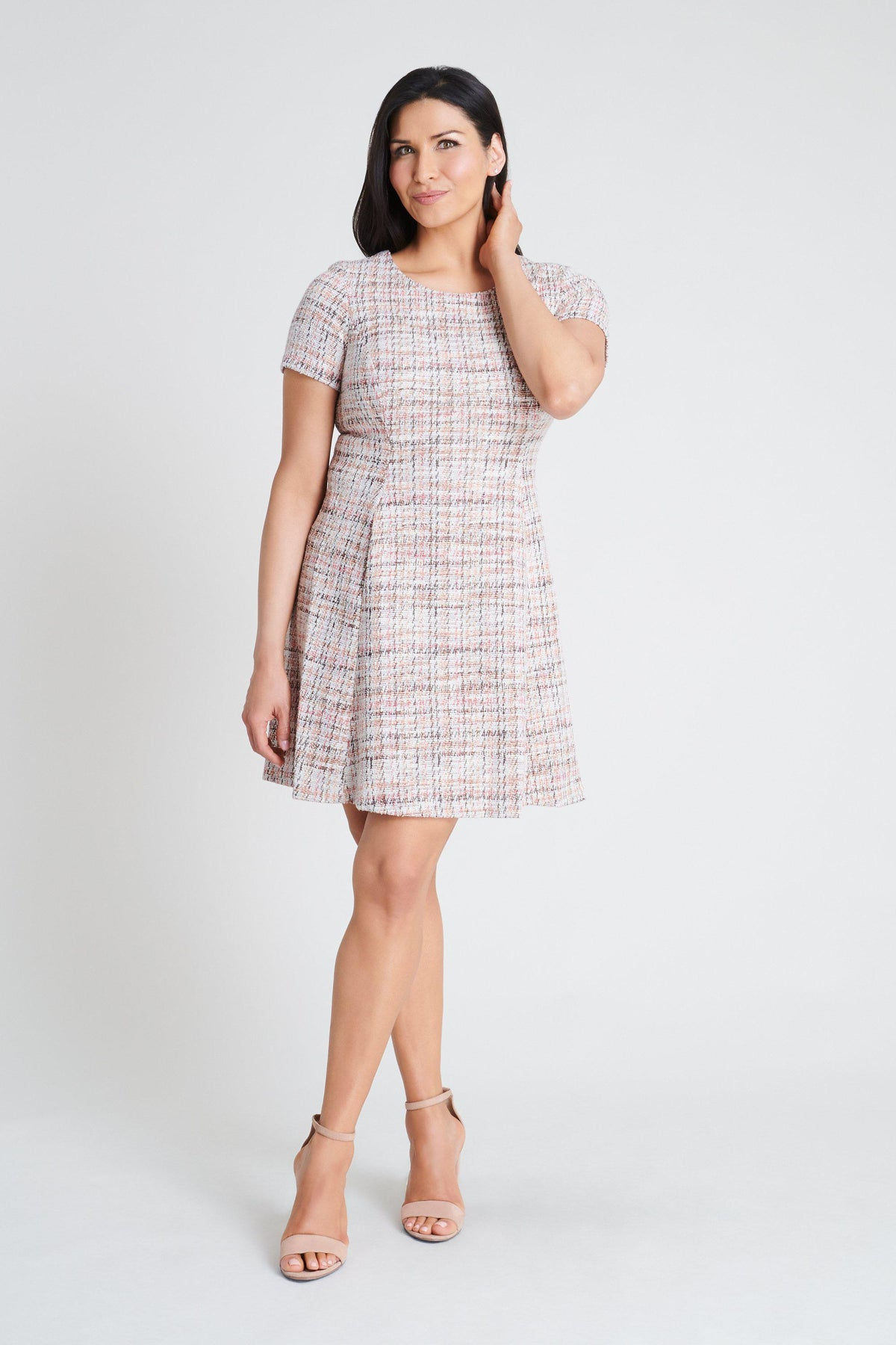 Woman posing wearing Rose Maggie Rose Tweed Dress from Connected Apparel