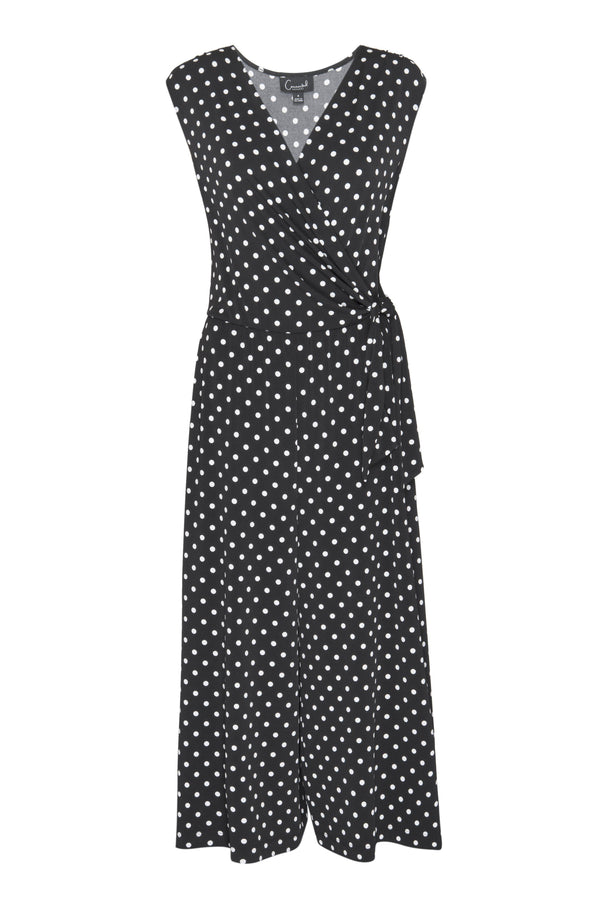 Black Morgan Polka Dot Cropped Jumpsuit from Connected Apparel on ghost mannequin form