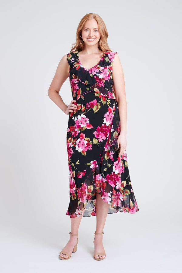 woman-wearing-connected-apparel-Natalie Raspberry Floral Print Dress [PRE-ORDER]-posing-on-plain-background
