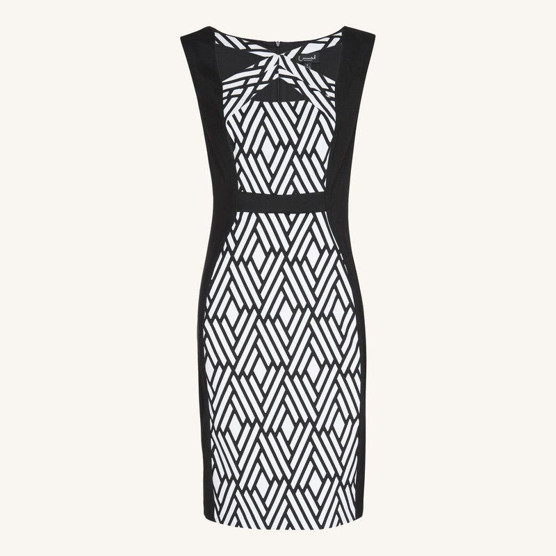 Woman posing wearing Black & White Noelle Black & White Geometric Dress [FINAL SALE] from Connected Apparel