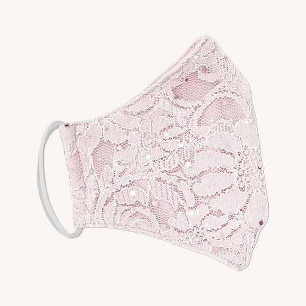 Woman posing wearing Pale Pink Lace Sequin Mask - Assorted Colors from Connected Apparel
