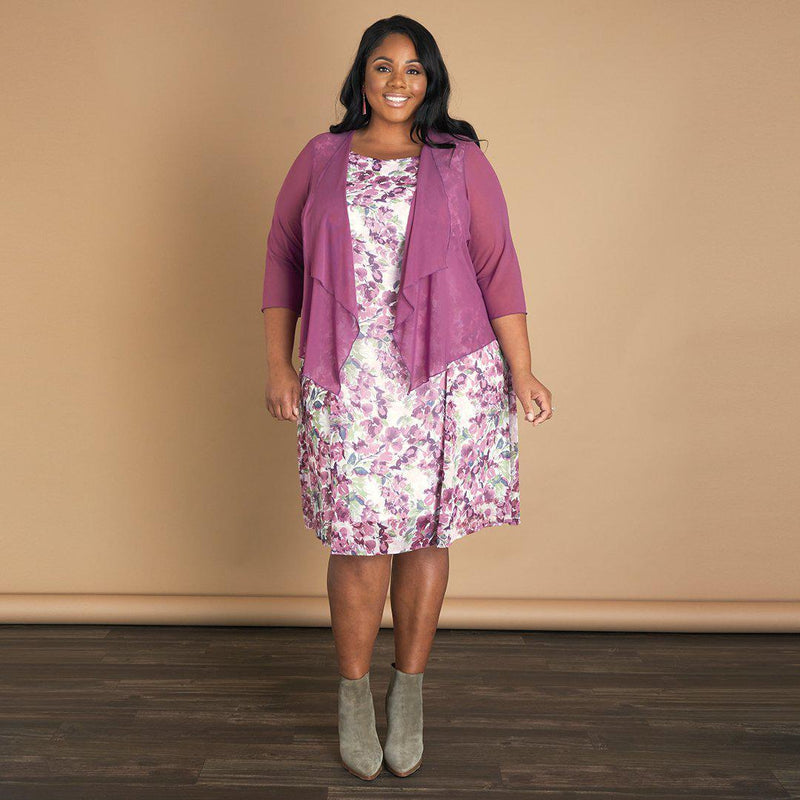 Woman posing wearing Rosewood Patty Rosewood Floral Print Jacket Dress from Connected Apparel
