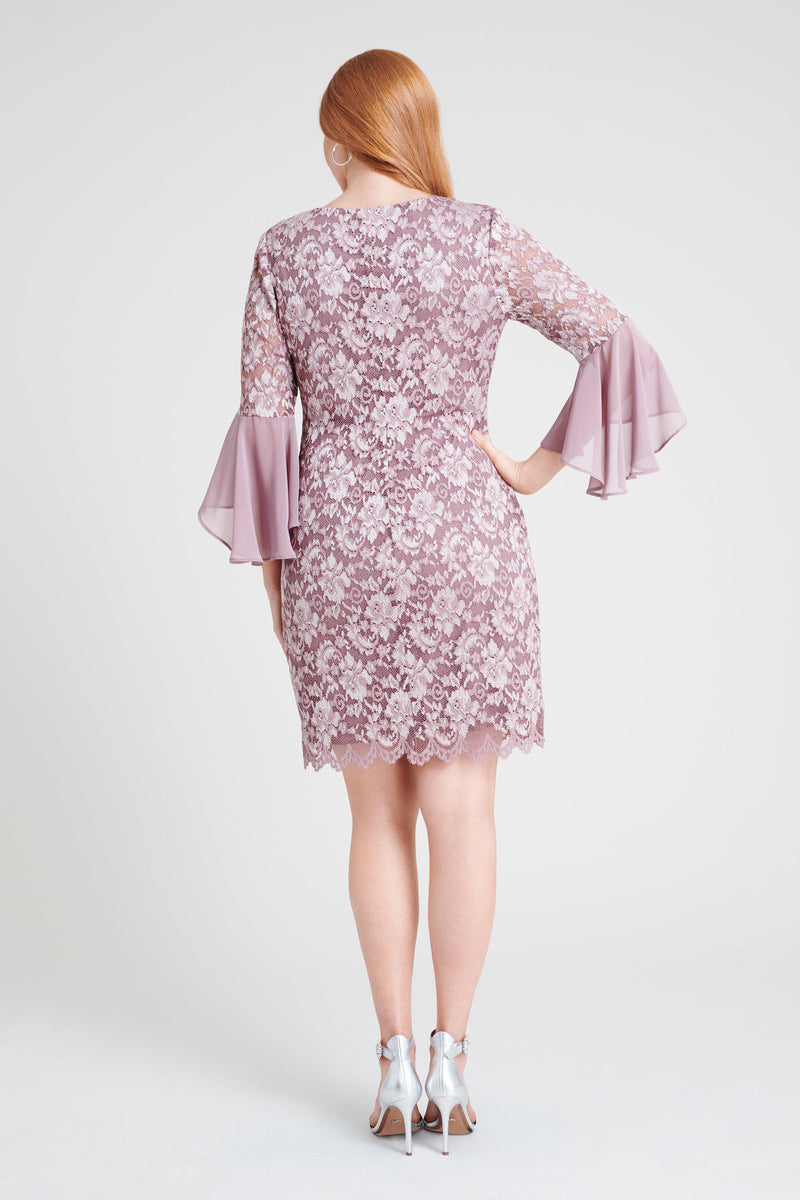 Woman posing wearing Mauve/Silver Rachel Mauve & Silver Lace Dress from Connected Apparel