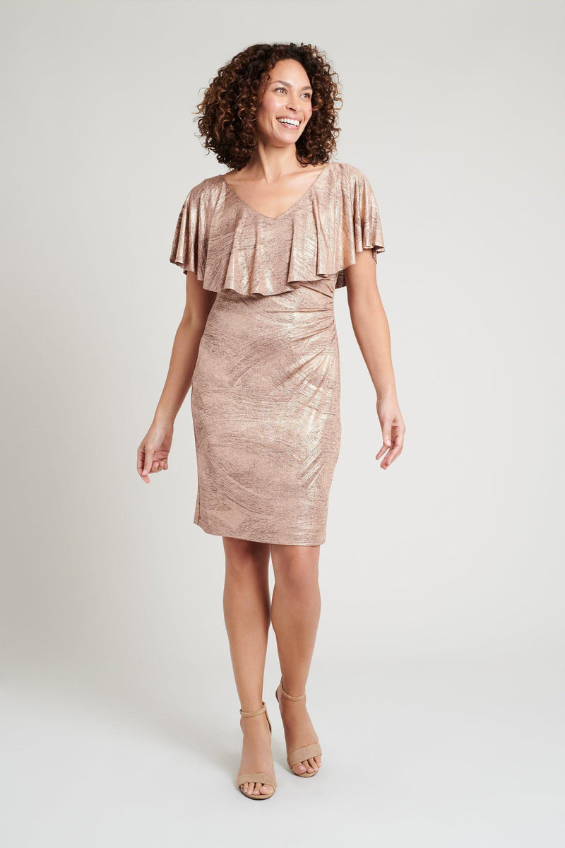 rose gold form-fitting dress