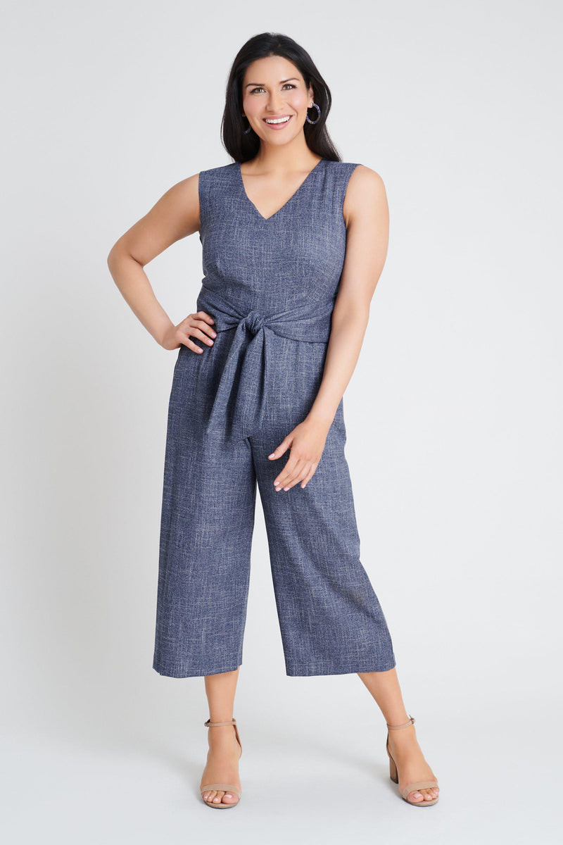 Woman posing wearing Denim Blue Ryan Denim Blue Cropped Jumpsuit from Connected Apparel