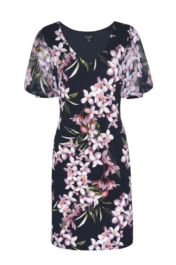 Navy/Mauve Sadie Navy & Mauve Floral Print Dress from Connected Apparel on ghost mannequin form