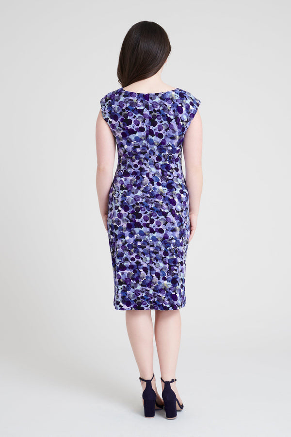 woman-wearing-connected-apparel-Tina Amethyst Abstract Print Dress [PRE-ORDER]-posing-on-plain-background
