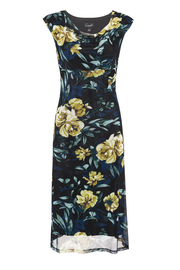 Woman posing wearing - Tina Black Floral Print Sleeveless Midi Dress from Connected Apparel