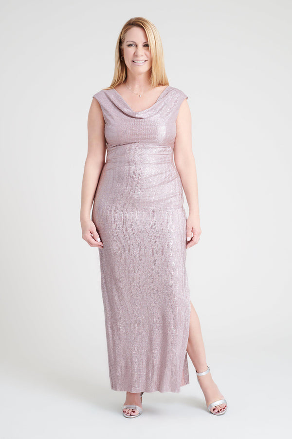 Woman posing wearing Pink Turner Pink Metallic Floor-Length Dress from Connected Apparel