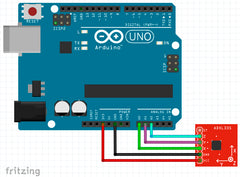 ➡️  How to connect analog accelerometr ADXL335 to Arduino