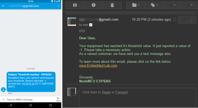 📧 Sending email and SMS with NodeMCU ESP8266