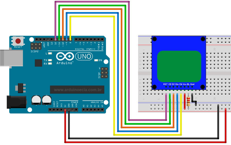 Display Nokia 5110 and Arduino - wiring diagram