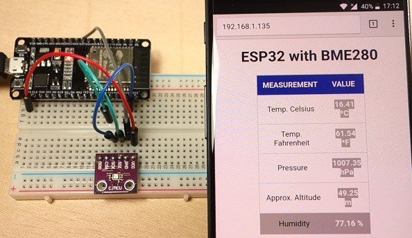🌦 Mini weather station with a web server on ESP32 with a BME280 sensor