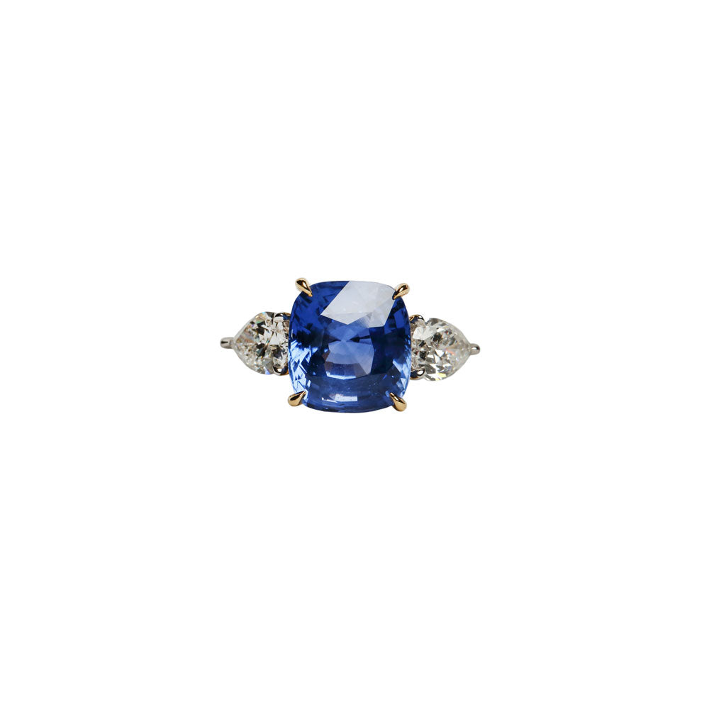 Maria Jose Jewelry 6.04 Carat Blue-Purple Sapphire Ring Front Angle