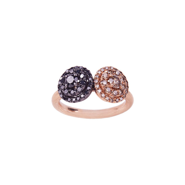 Maria Jose Jewelry Black and Champagne Diamond Two Tone Ring