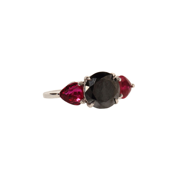 Black Diamond and Ruby Ring