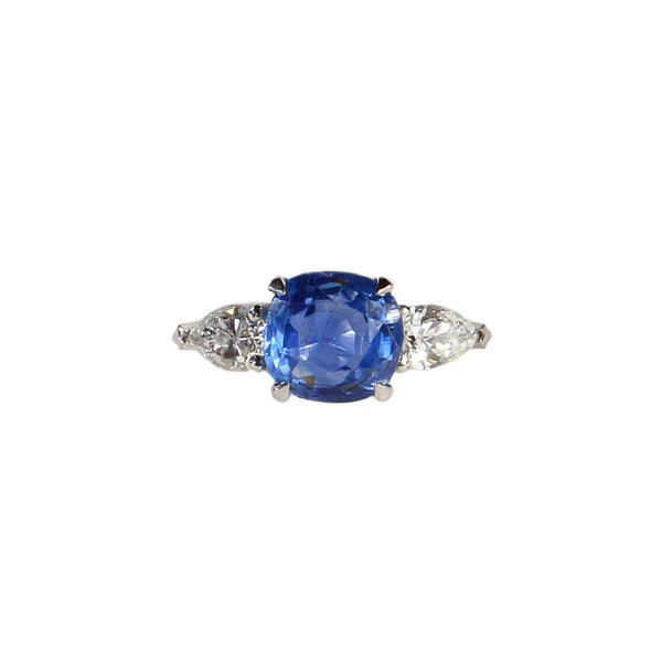 Maria Jose Jewelry Cushion Sapphire Three Stone Diamond Ring
