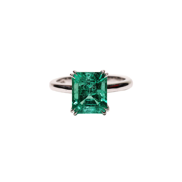 Maria Jose Jewelry Emerald Solitaire Ring Front Angle