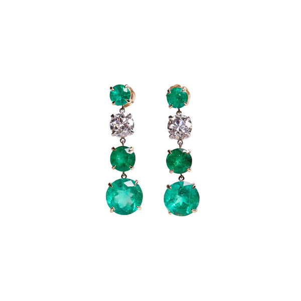 Maria Jose Jewelry Round Emerald White Diamond Drop Earrings