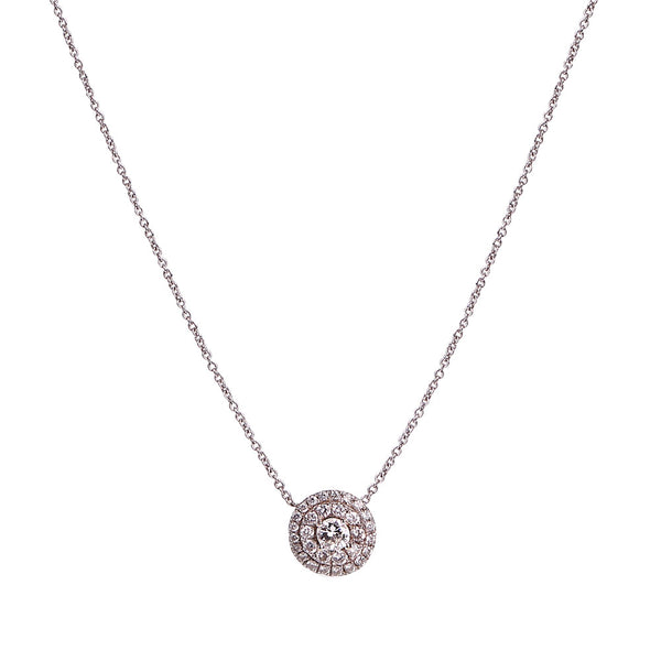 White Diamond Double Halo Pendant