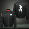 Fortnite Dance Silhouette Print Thicken Long Sleeve Bomber Jacket