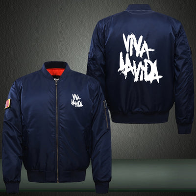 ‎Viva la Vida Print Thicken Long Sleeve Bomber Jacket