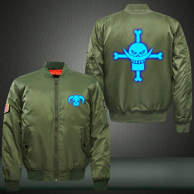 Anime One Piece Pirate Flag Luminous Print Thicken Long Sleeve Bomber Jacket