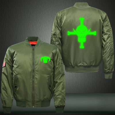 Anime One Piece Pirate Flag Green Luminous Print Thicken Long Sleeve Bomber Jacket