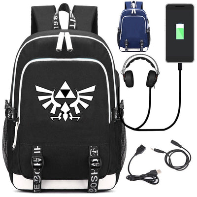 Legend of Zelda Winged Triforce USB charging Backpack