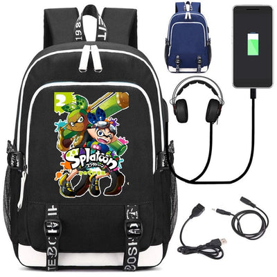 Game Splatoon USB charging Canvas shoulder bag Backpack