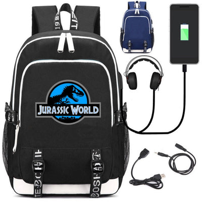 Jurassic World USB charging mochila students Backpack