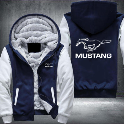 Mustang Printing Pattern Thicken Fleece Zipper Hoodies Jacket