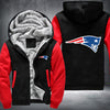 New England Patariots Printing Pattern Thicken Fleece Zipper Black Red Hoodies Jacket