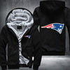 New England Patariots Printing Pattern Thicken Fleece Zipper Black Hoodies Jacket