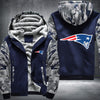 New England Patariots Printing Pattern Thicken Fleece Zipper Blue Camo Hoodies Jacket