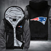 New England Patariots Printing Pattern Thicken Fleece Zipper Grey Hoodies Jacket