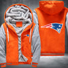 New England Patariots Printing Pattern Thicken Fleece Zipper Orange Grey Hoodies Jacket