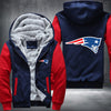 New England Patariots Printing Pattern Thicken Fleece Zipper Red Hoodies Jacket