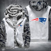 New England Patariots Printing Pattern Thicken Fleece Zipper White Camo Hoodies Jacket