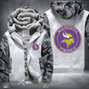 Minnesota Vikings Printing Pattern Thicken Fleece Zipper White Camo Hoodies Jacket