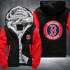 Boston Red Sox Printing Pattern Thicken Fleece Zipper Black Red Hoodies Jacket