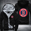 Boston Red Sox Printing Pattern Thicken Fleece Zipper Black Hoodies Jacket