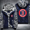Boston Red Sox Printing Pattern Thicken Fleece Zipper Blue Camo Hoodies Jacket