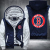 Boston Red Sox Printing Pattern Thicken Fleece Zipper Blue Hoodies Jacket