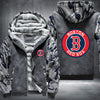 Boston Red Sox Printing Pattern Thicken Fleece Zipper Grey Camo Hoodies Jacket