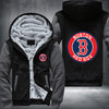 Boston Red Sox Printing Pattern Thicken Fleece Zipper Grey Hoodies Jacket