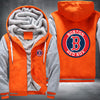 Boston Red Sox Printing Pattern Thicken Fleece Zipper Orange Grey Hoodies Jacket