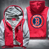 Boston Red Sox Printing Pattern Thicken Fleece Zipper Red Grey Hoodies Jacket