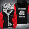 Winchester Brothers Printing Pattern Thicken Fleece Zipper Black Red Hoodies Jacket