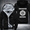 Winchester Brothers Printing Pattern Thicken Fleece Zipper Black Hoodies Jacket